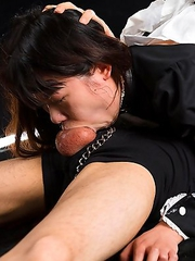 Face fuck maid slave Chiho Arimura is given cock cleaning work but after endless gagging on hard cock all she does is make a complete mess of everythi