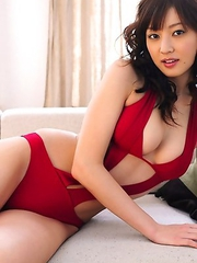 Natsuki Ikeda with big melons in red lingerie is relaxing